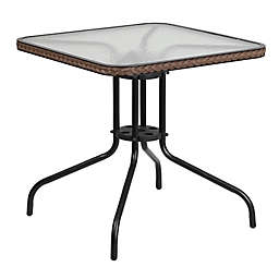 Flash Furniture 28-Inch Square Glass Outdoor Table with Rattan Edging