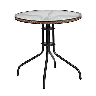 Flash Furniture 28.75-Inch Square Glass Outdoor Table with Rattan Edging