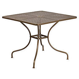 Flash Furniture 35.5-Inch Square All-Weather Steel Patio Table