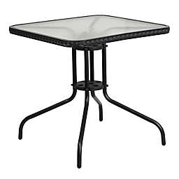 Flash Furniture 28-Inch Square All-Weather Glass Metal Table