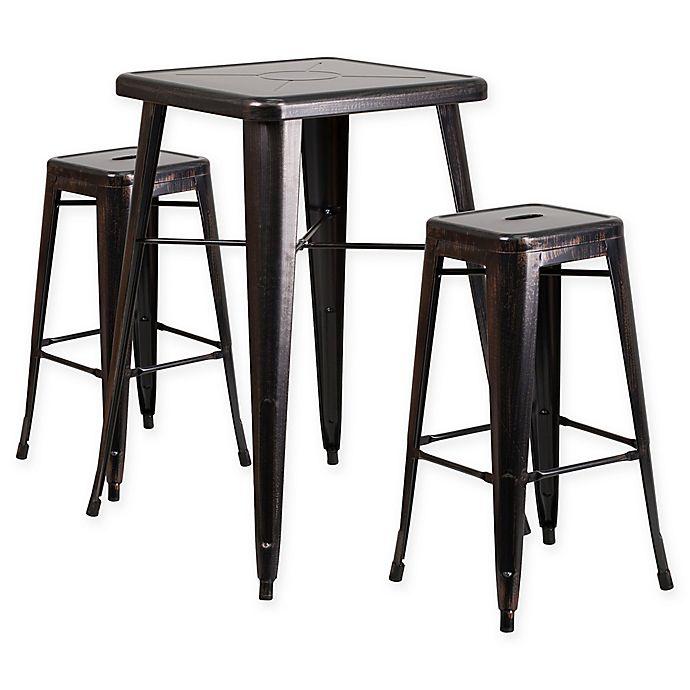 Peachy Flash Furniture 3 Piece Steel Antique Bar Table With Stools Customarchery Wood Chair Design Ideas Customarcherynet