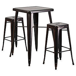 Flash Furniture 3-Piece Steel Antique Bar Table with Stools in Black/Gold