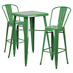 Flash Furniture 3-Piece 27.75-Inch Square Metal Bar Table and Bar Stools Set