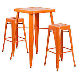 Flash Furniture 3-Piece 27.75-Inch Square Bar Table with Backless Bar Stools Set