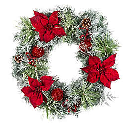 30-Inch Flocked Poinsettia Christmas Wreath