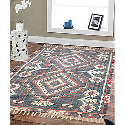 Style Co-op Prism Printed Stone Wash 3' x 5' Area Rug in Red/Navy