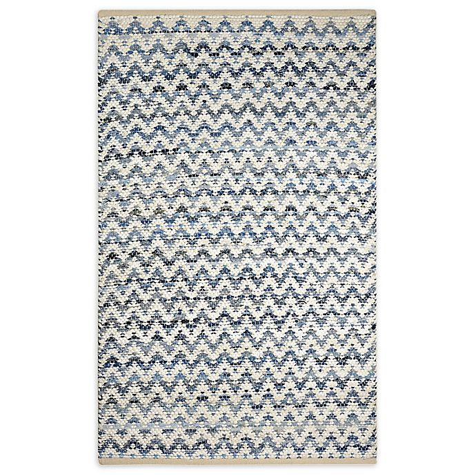 Chevron Chindi 3 X 5 Area Rug In Navy White Bed Bath