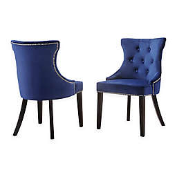 Carolina Living Julia Velvet Upholstered Dining Chairs in Espresso/blue (Set of 2)