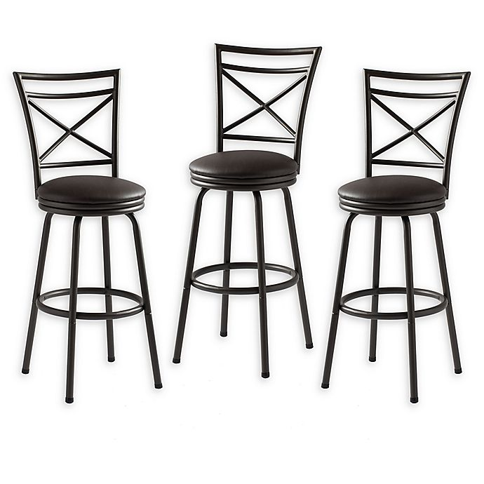 Faux Leather Upholstered Bar Stools Set Of 3 Bed Bath