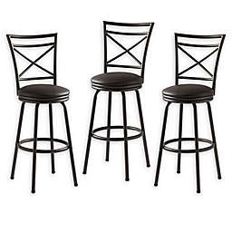 Faux Leather Upholstered Bar Stools (Set of 3)