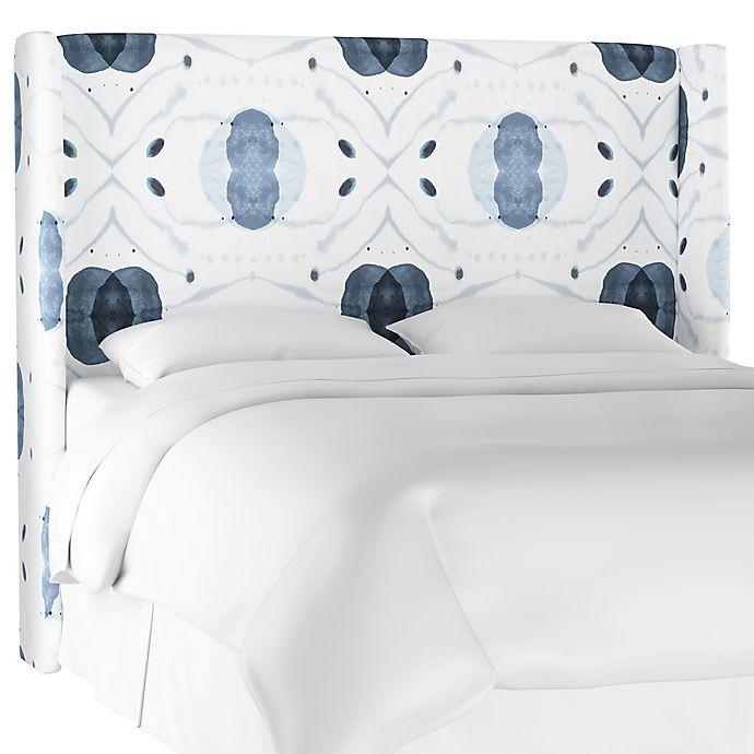 Alternate image 1 for Charlie King Linen Wingback Headboard in Blue/White