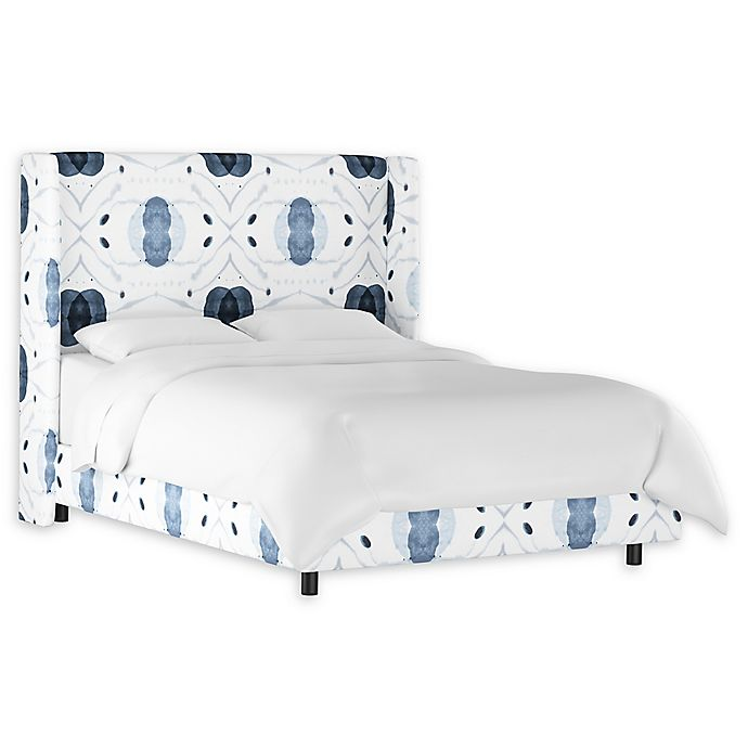 Alternate image 1 for Skyline Furniture Charlie King Linen Wingback Bed in Blue/White