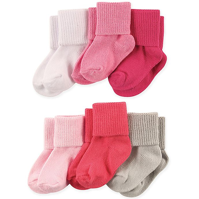 Alternate image 1 for Luvable Friends® 6-Pack Basic Cuff Socks in Pink/Coral