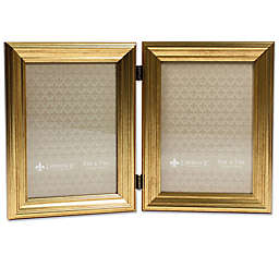 Lawrence Frames Burnished 4-Inch x 6-Inch Double Picture Frame in Gold