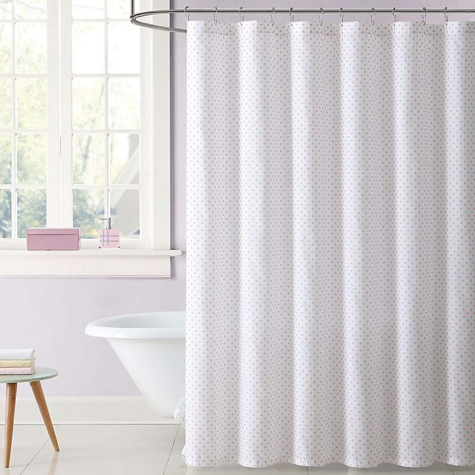 Alternate image 1 for Laura Hart Kids Dot Shower Curtain in Pink