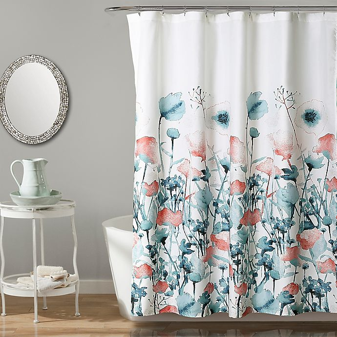 Alternate image 1 for Triangle Home Flora Shower Curtain in Blue