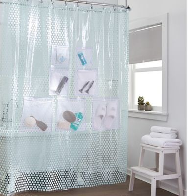 Stuffits Vinyl Shower Curtain With Mesh Pockets In Jade