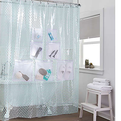 Stuffits Vinyl Shower Curtain with Mesh Pockets in Jade Dot