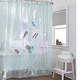 Compare Stuffits Vinyl Shower Curtain With Mesh Pockets In Jade Dot