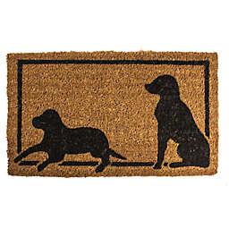 "Entryways Dog Silhouettes 18"" x 30"" Coir Door Mat in Black"