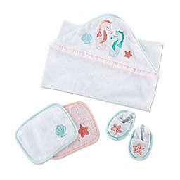 Baby Aspen® Size 0-6M 4-Piece Seahorse Bath Gift Set in White