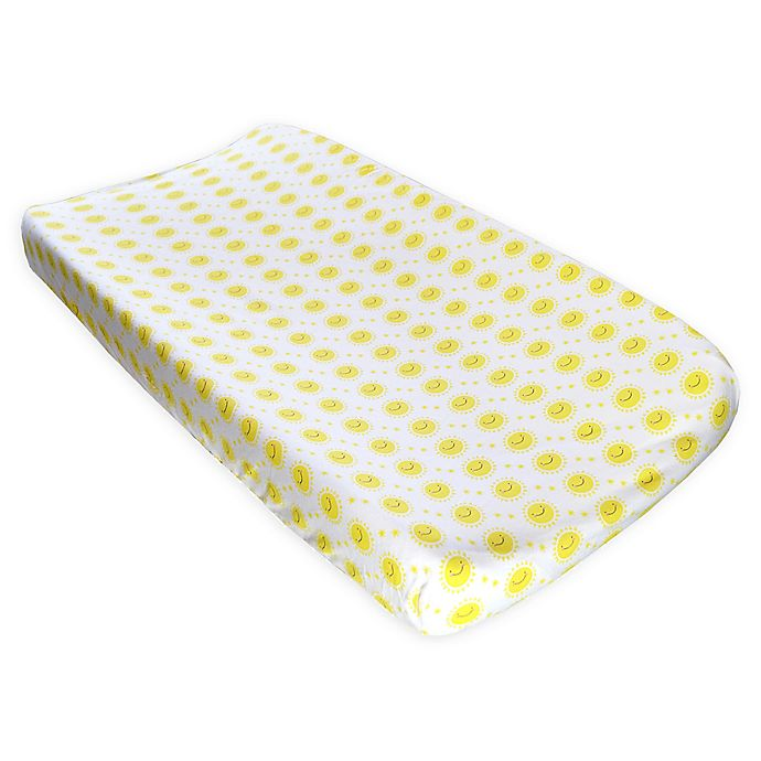 Alternate image 1 for Hello Spud Organic Cotton Happy Sun Changing Pad Cover in Yellow