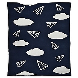 Hello Spud Paper Airplanes Chenille Knit Blanket in Navy