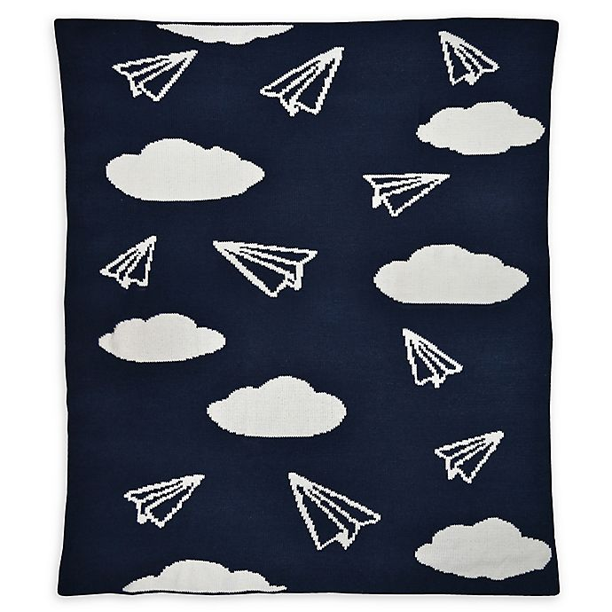 Alternate image 1 for Hello Spud Paper Airplanes Chenille Knit Blanket in Navy