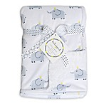 Hello Spud Elephant Plush Baby Blanket in Grey