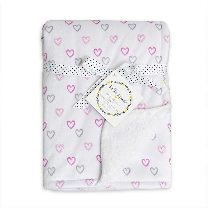 Alternate image 1 for Hello Spud Heart Plush Baby Blanket in Pink