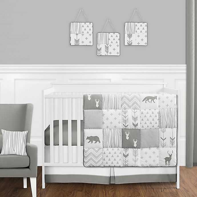 Alternate image 1 for Sweet Jojo Designs Woodsy 11-Piece Crib Bedding Set in Grey/White
