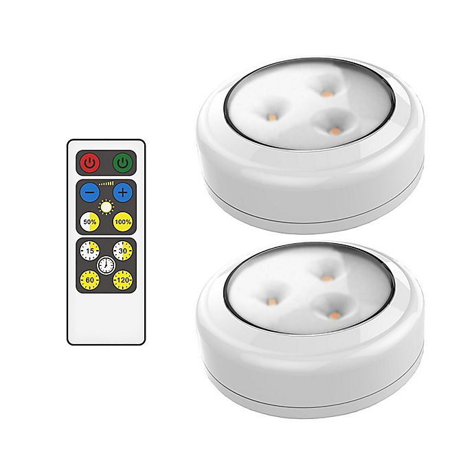 Alternate image 1 for Brilliant Evolution 3.38-Inch LED Wireless Puck Lights with Remote (Set of 2)