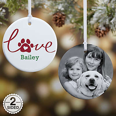 Love Has 4 Paws 2-Sided Dog Glossy Photo Christmas Ornament