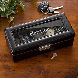 Leather 5 Slot Name Watch Box in Black