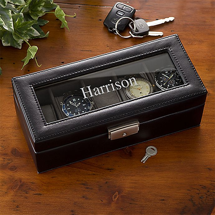 Alternate image 1 for Leather 5 Slot Name Watch Box in Black