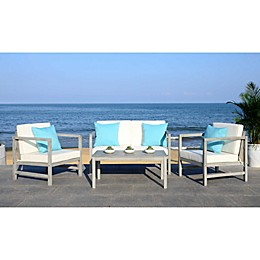 Safavieh Montez 4-Piece All-Weather Set with Accent Pillows in Grey/White