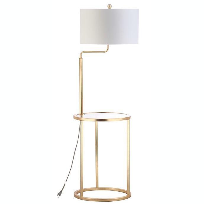 Light Floor Lamp Side Table In Gold