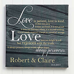 """""""Love Is Patient"""" 8-Inch x 8-Inch Canvas Wall Art"""