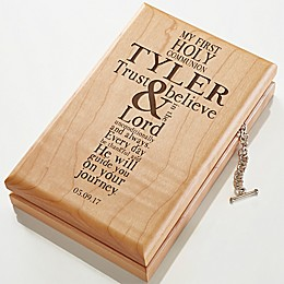 First Communion Engraved Wood Valet Box