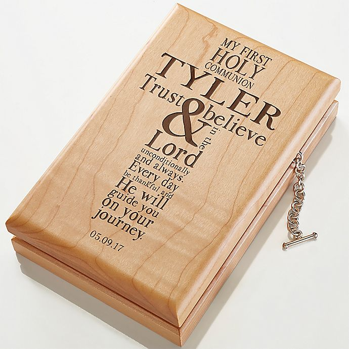 Alternate image 1 for First Communion Engraved Wood Valet Box