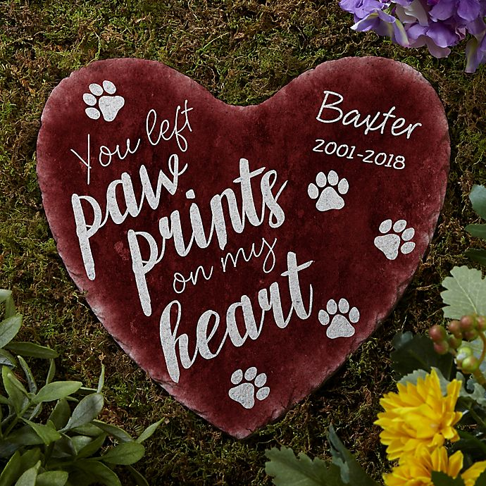 Alternate image 1 for Paw Prints On My Heart Garden Stone