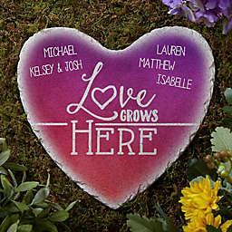 Love Grows Here Heart Garden Stone