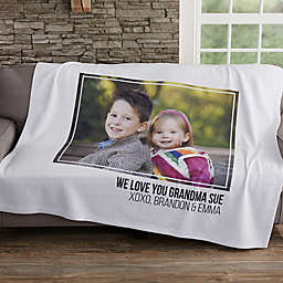 Photo Collage 50-Inch x 60-Inch Sweatshirt Throw Blanket