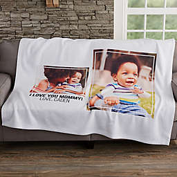 Photo Collage 2 Photo 50-Inch x 60-Inch Sweatshirt Blanket