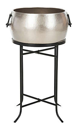Safavieh Beverage Tub with Stand in Hammered Pewter