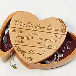 Why I Love You Wooden Heart Jewelry Box