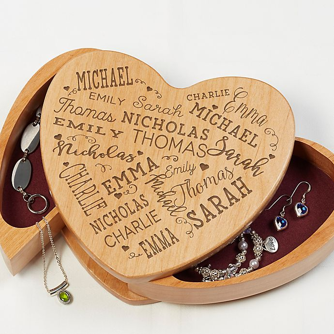 Alternate image 1 for Close To Her Heart Wooden Heart Jewelry Box