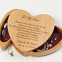 We Beat As One Wooden Heart Jewelry Box