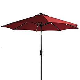 9-Foot Round Solar Patio Umbrella