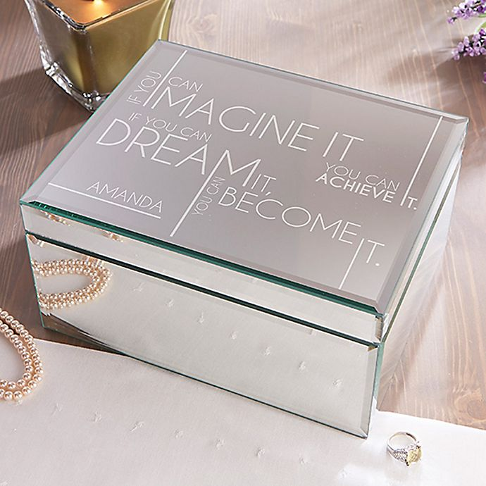 Alternate image 1 for Inspiring Messages Large Engraved Mirrored Jewelry Box